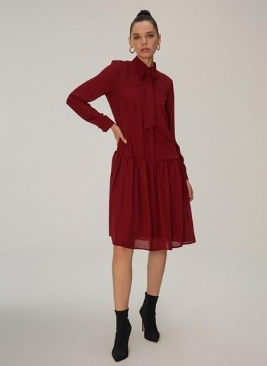 NGSTYLE Fular Bağlamalı Elbise Bordo